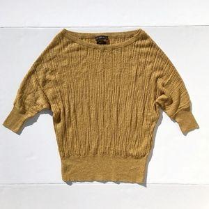 Zara Knit Gold Dolman Sleeve Sweater sz S